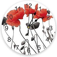 Eld Diameter 25cm Red Poppy Flower Wall Clock