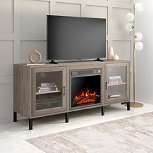 Electric Fireplace TV Stand  in Rustic Wood Effect