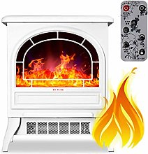 Electric fireplace with flame effect White