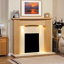 Electric Gas Oak Wood Fireplace Curve Surround