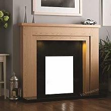 Electric Gas Oak Wood Fireplace Surround Black
