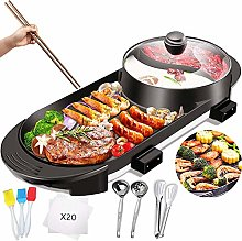 Electric Grill with Hot Pot 2 in 1 Indoor Korean