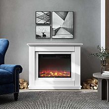 Electric Inset Fireplace Heater Fire Place White