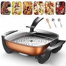 Electric Skillet 5L with Steamer Multi-Cooker