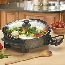Electric Skillet with Lid Cooks Professional