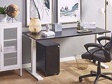 Electrically Adjustable Desk Black Wooden Tabletop