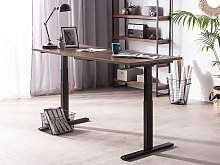 Electrically Adjustable Desk Dark Wooden Tabletop