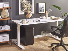 Electrically Adjustable Desk White Wooden Tabletop
