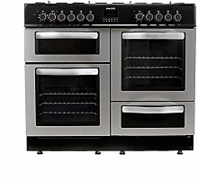electriQ 100cm Dual Fuel Range Cooker - Stainless