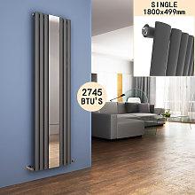 ELEGANT 1600 x 590 mm Vertical Column Designer Radiator Single Oval Panel Anthracite Central Heating Radiators