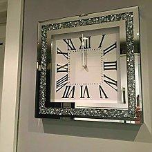 Elegant 35cm Crushed Mirror Jewel wall clock roman
