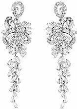 Elegant Leaves Drop Dangle Earrings AAA Cubic