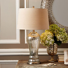 Elegant Silver Mercury Glass Table Lamp & Linen