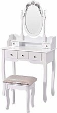 Elegant White Dressing Table, Oval Mirror and
