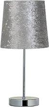 Elegent Velvet Look Table Lamp - Silver style