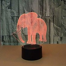 Elephant 3D Illusion Night Light 7 Colors Auto