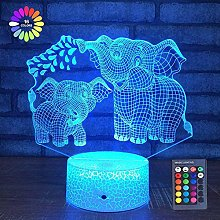 Elephant 3D Night Light for Kids 3D Lamp with 16