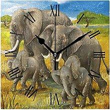 Elephant Artwork for The Children Wall Clock,