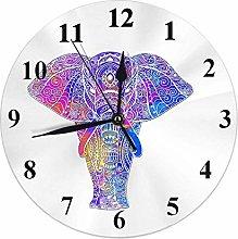 Elephant Clock Watercolor Bohemian Elephants