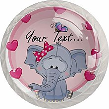 Elephant Girl with Hearts Set of 4 Drawer Knobs