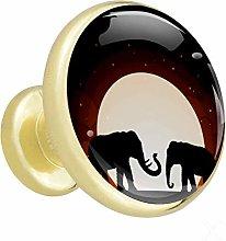 Elephant Moon Shadow 4 Piece Crystal Gold Knobs