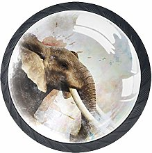 Elephant Painting Kitchen Cabinet Knobs Round