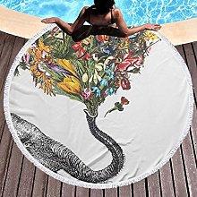 Elephant Printed Round Beach Towel Yoga Picnic Mat