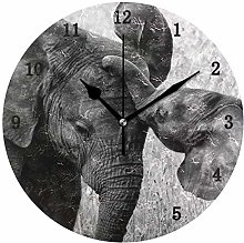 Elephant Wall Clock, Silent Non Ticking Battery