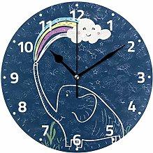Elephant with Rainbow Cloud Round Wall Clock,