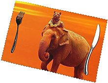 Elephant with Tiger Printing Placemats for Dining
