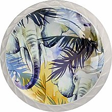 Elephants with Colorful Tropical Leaves Set of 4