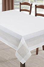 Elgant White Tablecloth Silver Trim Edge Dinner