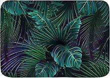 ELIENONO Bath Mat Thin,Exotic Tropical Green