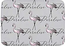 ELIENONO Bath Mat Thin,Line Drawing Flamingo Wild