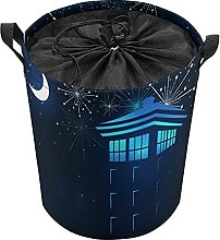 ELIENONO Drawstring Laundry Bag,Tardis In The