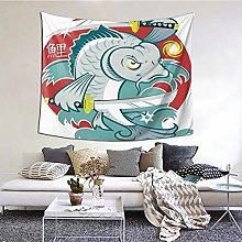 ELIENONO Wall Hanging Tapestry,Koi Samurai Figure