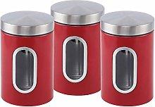 EliteZotec New Red 3Pc Storage Canister Set Jars