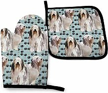 Eliuji Bearded Collies and Paw Prints Oven Mitts