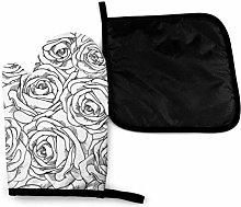 Eliuji Black White Rose Oven Mitts and Potholders