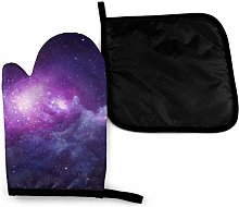 Eliuji Blue and Violet Galaxy Oven Mitts and Pot