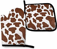 Eliuji Brown Cow Spot Oven Mitts and Pot Holders