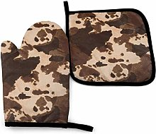 Eliuji Brown Cowhide Art Oven Mitts and Pot