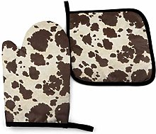 Eliuji Brown Cowhide Oven Mitts and Pot Holders