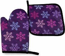 Eliuji Christmas Purple Snowflake Oven Mitts and