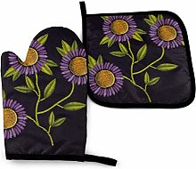 Eliuji Colorful Purple Daisy Oven Mitts and Pot