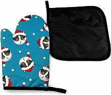 Eliuji Cute Black and White Cat Attack Oven Mitts