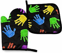 Eliuji Dark Bright Colored Hand, Oven Mitts and