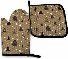 Eliuji Gold and Black Winter Woods Oven Mitts and