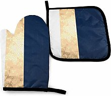 Eliuji Gold Blue White Oven Mitts and Pot Holders