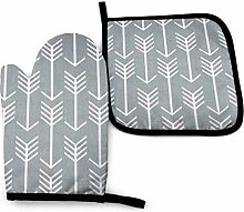Eliuji Gray and White Patterns, Oven Mitts and Pot